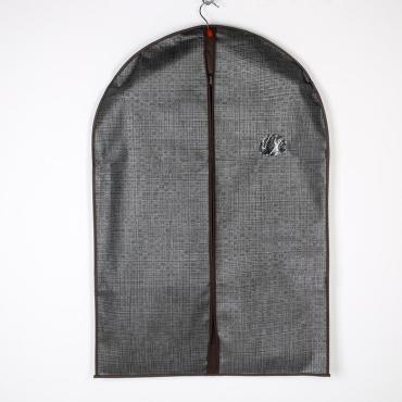 Чехол для одежды Доляна Пастель 90х60 см. с ПВХ окном коричневый