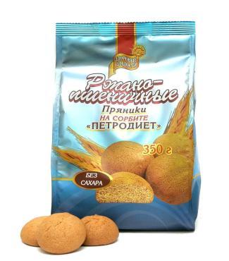 Пряники Ржано-пшеничные на сорбите, Здоровые Сладости, 350 гр., дой-пак
