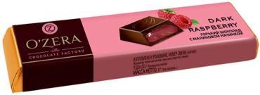 Батончик шоколадный горький с малиновой начинкой OZera Dark Raspberry, 50 гр., обертка фольга/бумага