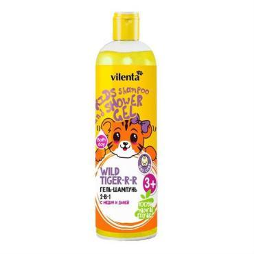 Гель-шампунь 2в1, детский, с медом и дыней, Vilenta Wild Tiger-R-R, 400 мл., Пластиковая бутылка