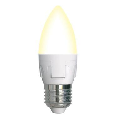 Лампа светодиодная, диммируемая, форма свеча, матовая, серия яркая, теплый белый свет (3000K), LED-C37 7W/3000K/E27/FR/DIM PLP01WH, Uniel, картонная коробка