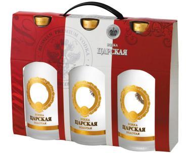 Водка «Царская золотая» упаковка 3 бут.х 0,5л, Россия