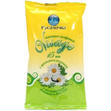 Влажные салфетки Русалочка Visage C ароматом ромашки 15шт.