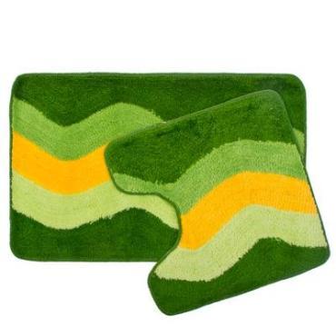 """VETTA Набор ковриков 2шт для ванной и туалета,акрил,50*80см+50*50см""""Зеленые полосы"""""""