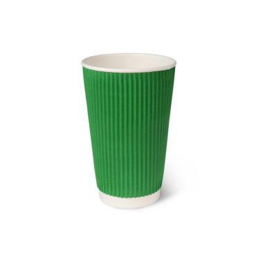 Бумажный стакан, 450 мл (макс. 500 мл), двухсл., гофр., зеленый