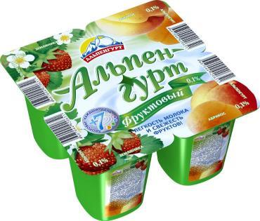 Продукт йогуртный Альпенгурт Фруктовый Пастеризованный Абрикос земляника 0,1%
