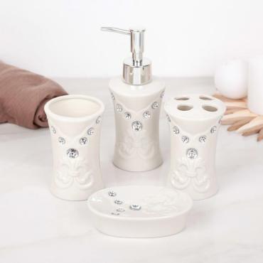 Набор аксессуаров для ванной комнаты Доляна Стразы Капельки 4 предмета