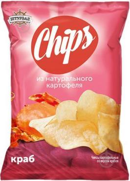 Чипсы картофельные Штурвал Chips Краб, 70 гр., флоу-пак