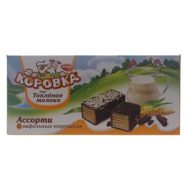Торт вафельный РотФронт Коровка Топлёное молоко ассорти, к/к 200 гр. (15 шт. в упаковке)