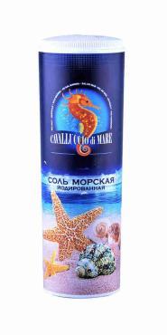 Соль морская, мелкая, йодированная, Cavalluccio Di Mare 250 гр., пластиковая банка