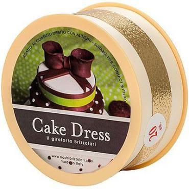 Лента для торта GDC 45мм. 20м. Бежевая с золотой полосой