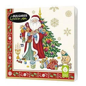 Салфетки бумажные трёхслойные 33х33 20 штук Bulgaree Green Подарки Деда Мороза, пластиковый пакет