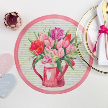 Салфетка на стол Доляна Тюльпаны 30х30 см. 100% п/э оксфорд 420 г/м2