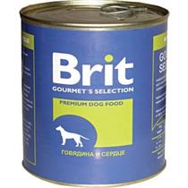 Консервы Brit для собак с говядиной и сердцем в жестяной банке