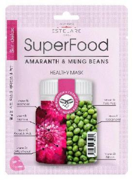 Тканевая маска для лица Амарант и Бобы Мунг, Estelare Superfood, 25 гр., Пластиковый пакет