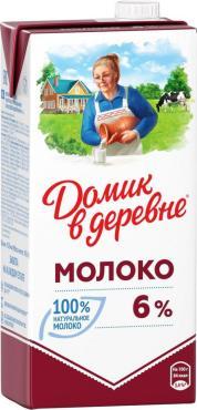 Молоко ультрапастеризованное 6%,  Домик в Деревне, 950 гр., тетра-пак