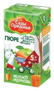 Пюре яблоко-морковь с 5 мес., Сады Придонья, 125 гр., тетра-пак