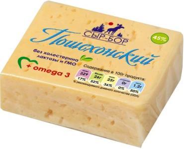 Сырный продукт Пошехонский 45% Сыр-Бор, 240 гр., полиэтиленовая пленка