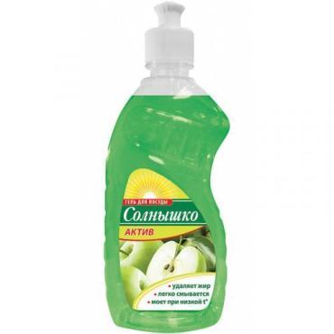 Гель для мытья посуды с ароматом яблока, Солнышко Актив, 450 мл., Пластиковая бутылка