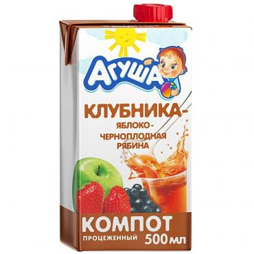 Компот Агуша клубника-яблоко-черноплодная рябина