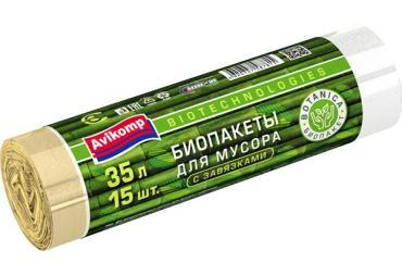 Пакеты для мусора Avikomp Botanica биоразлагаемые 35л. 15шт. белые