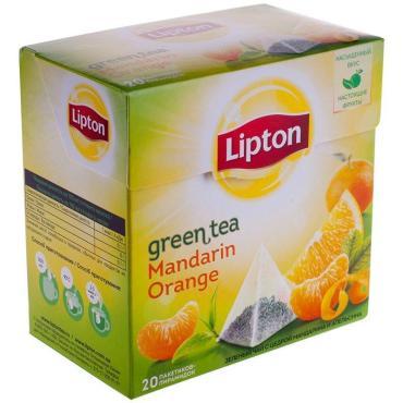 Чай Lipton Mandarin Orange Green Tea зеленый в пирамидках