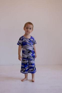 Костюм, 045741, мультиколор, камуфляж синий, 80, 230 гр., пластиковый пакет
