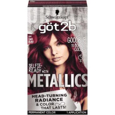 Краска стойкая для волос M68 Тёмный рубин, Got2b Metallics, 60 мл., картонная коробка