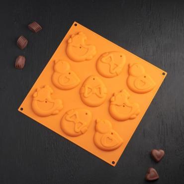 Форма для шоколада Доляна Пасха 30,5х1,5 см. 9 ячеек