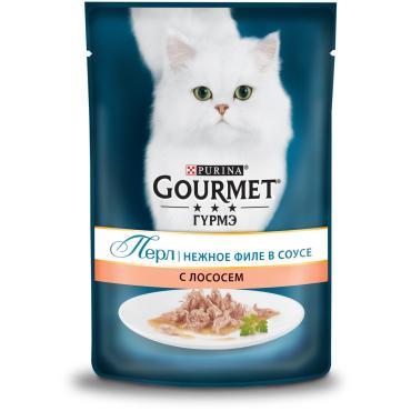 Корм вланый для кошек мини-филе с лососем Gourmet 85 гр. Дой-пак