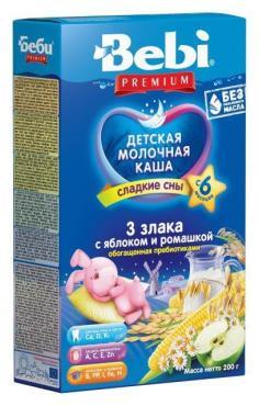Каша Bebi Premium 3 злака с яблоком и ромашкой молочная с 6 месяцев