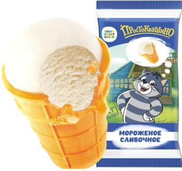 Мороженое сливочное ванильное 10 % в вафельном стаканчике Простоквашино, 80 гр., флоу-пак