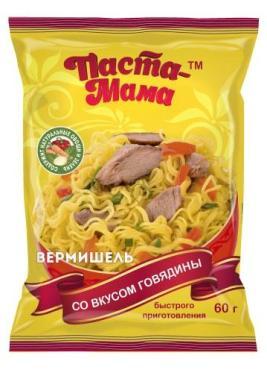 Лапша быстрого приготовления Вермишель Паста-Мама Со вкусом говядины