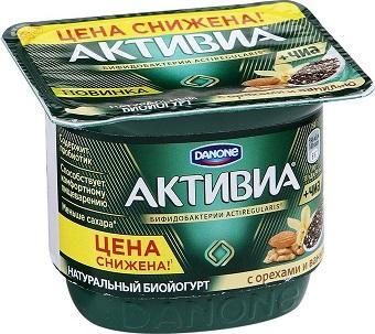 Йогурт Danone Активиа с орехами, семенами чиа и ванилью 3,1% 150г