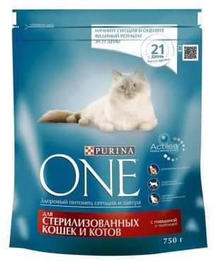 Корм Purina ONE для стерилизованных кошек с говядиной и пшеницей 750г