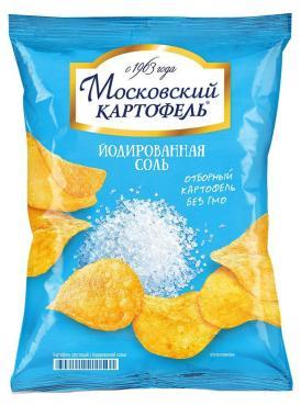 Чипсы с йодированной солью, Московский картофель, 130 гр., флоу-пак