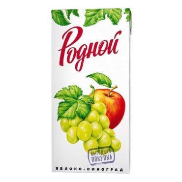 Сок яблочно-виноградный, Родной, 200 мл., тетра-пак