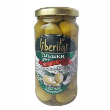 Оливки Liberitas зеленые с косточкой