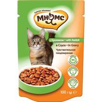 Комр влажный для взрослых кошек чувствительное пищеварение в соусе, с кроликом Мнямс 100 гр. Дой-пак