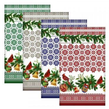 Полотенце Мультидом Новогодние узоры, 42x72см, цвет микс