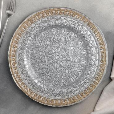 Тарелка подстановочная Доляна Богема 33х2 см., цвет золотой