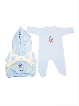 Одежда для кукол Колибри, Жилет и комбинезон для мальчика белый, голубой