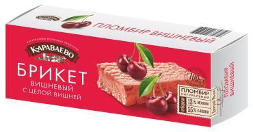 Брикет вишневый с цельной вишней пломбир, Караваево, 180 гр., картонная коробка