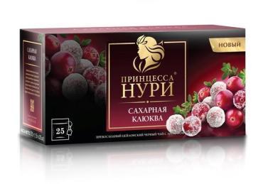Чай Принцесса Нури черный с добавкой - сахарная клюква, 25 пакетиков, 37.5 гр., картон