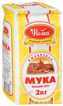 Мука пшеничная высший сорт Увелка, 2 кг., бумажная упаковка