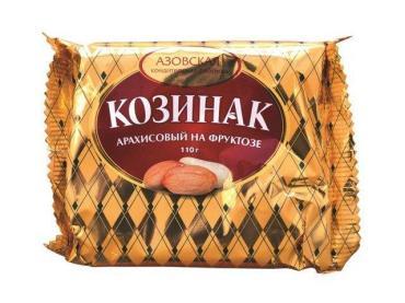 Козинак арахисовый на фруктозе, Азовская КФ, 110 гр., флоу-пак