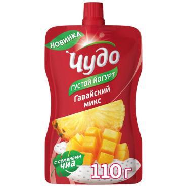 Йогурт Чудо Гавайский микс Манго ананас чиа фруктовый питьевой 2,6%