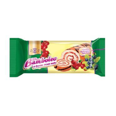 Рулет бисквитный со вкусом лесной ягоды Bamboleo, 145 гр., флоу-пак