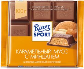 Шоколад с начинкой карамельный мусс с миндалём,  Ritter Sport, 100 гр., флоу-пак
