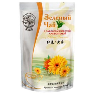 Чай Black Dragon С сафлором и желтой хризантемой, зеленый, 100 гр., дой-пак